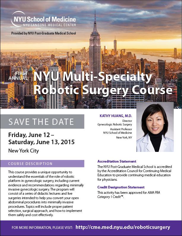 NYU Multi-Specialty Robotic Surgery Flyer