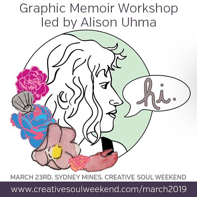 🙌 We are SUPER pumped for the workshop Alison Uhma is giving at the Mini Creative Soul Weekend. . ➡ About the Workshop: This Graphic Memoir workshop will focus on creating a brief autobiographical narrative. Sharing stories in this manner is a popular and important form of personal expression and art making. The workshop will focus on the theme of beginning, and leads from some group drawing into the creation of a personal narrative. Participants will work to create one page (size 10 x 13 inch) of work inspired by the theme of beginning. A resource and inspiration library is made available to all attendees. Participants are asked to bring a sketchbook, and any art supplies they like working with. Supplies other than a sketchbook are provided. Experience in drawing is not necessary, just you! . 👋 MEET ALISON! Alison Uhma is visual artist living in Sydney, Cape Breton Island, Nova Scotia. She works primarily in illustration, animation and comic book making. She uses a range of media to render and explore the interrelations of self and body, people, nature, and technology; employing humour to both amplify and defuse the inherent tensions of these interrelations. Alison is interested in the capacity of storytelling to both extract personal truth and remedy broken relationships with the self and others. She is currently completing the first serial in a graphic memoir entitled From the Other One, about a daughter's relationship with her mother and the devastation of Alzheimer's Disease. Alison works out of a shared studio space in the historic North End of Sydney. // www.alisonuhma.com . Artwork: @auh_ma herself! . 🎨 If you'd like to join us for this fun creative day (and we hope that you do!) you can get your tickets here: www.creativesoulweekend.com/march2019 or click the link in our bio 🔝