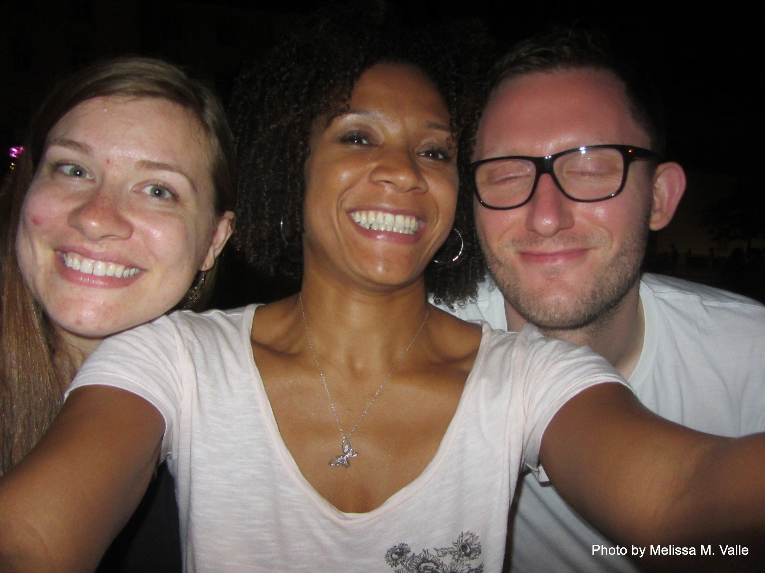 7.7.14 Vienna, Austria-wining it up in Museum Quartier after Amin lecture (19)- me, Sam and Sebastian.JPG