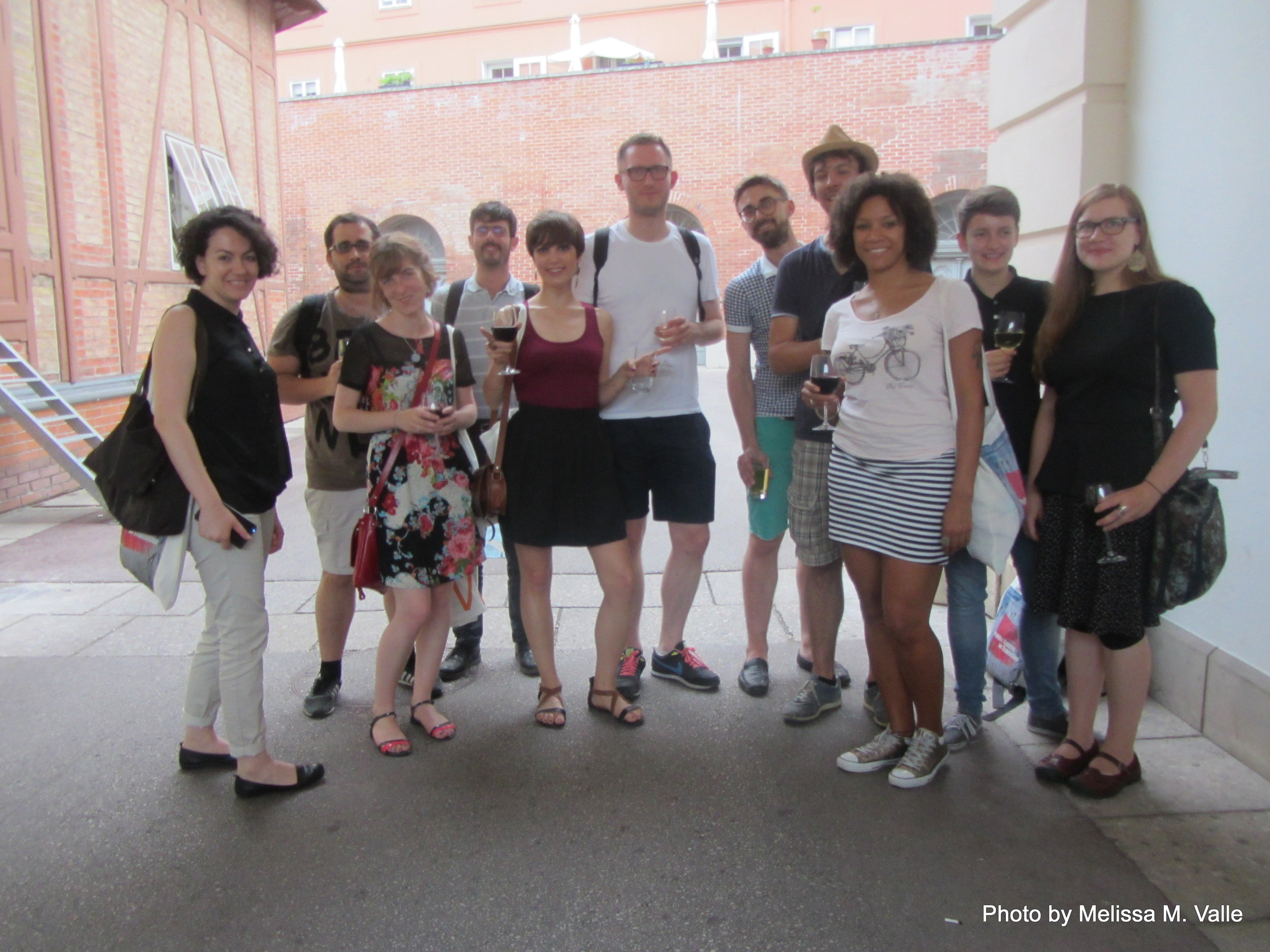 7.7.14 Vienna, Austria-wining it up in Museum Quartier after Amin lecture (2).JPG