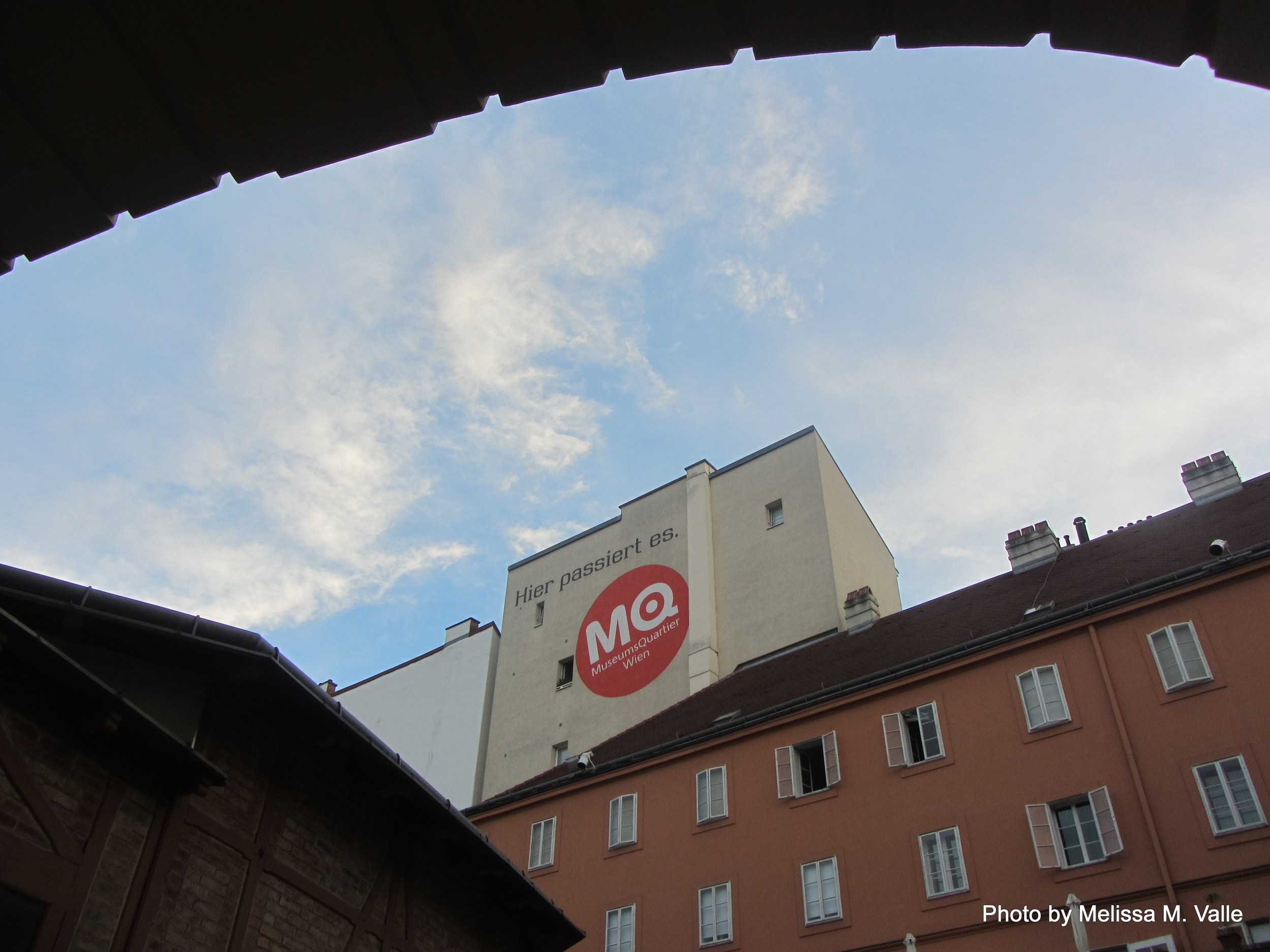 7.7.14 Vienna, Austria-wining it up in Museum Quartier after Amin lecture (3).JPG