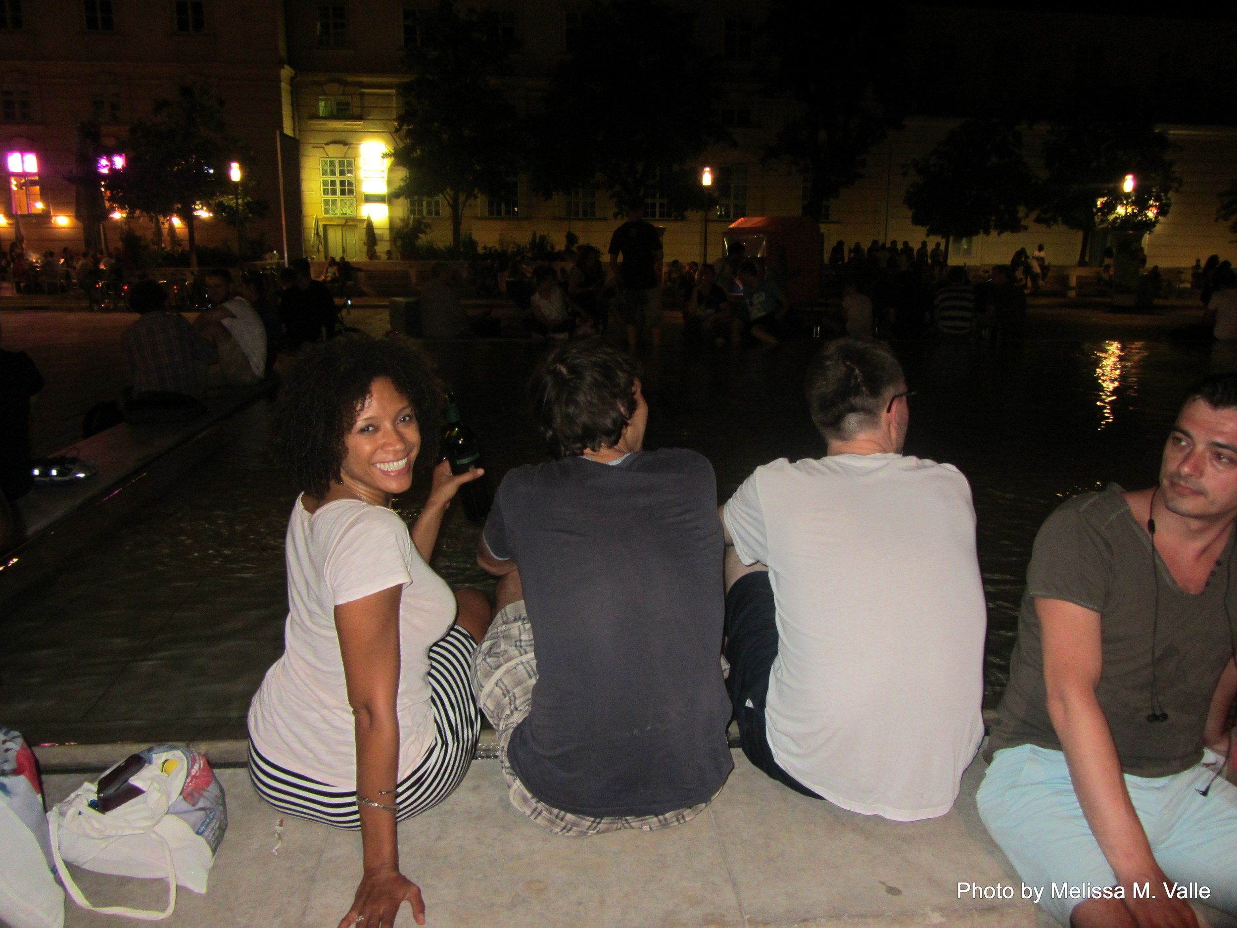 7.7.14 Vienna, Austria-wining it up in Museum Quartier after Amin lecture (7).JPG