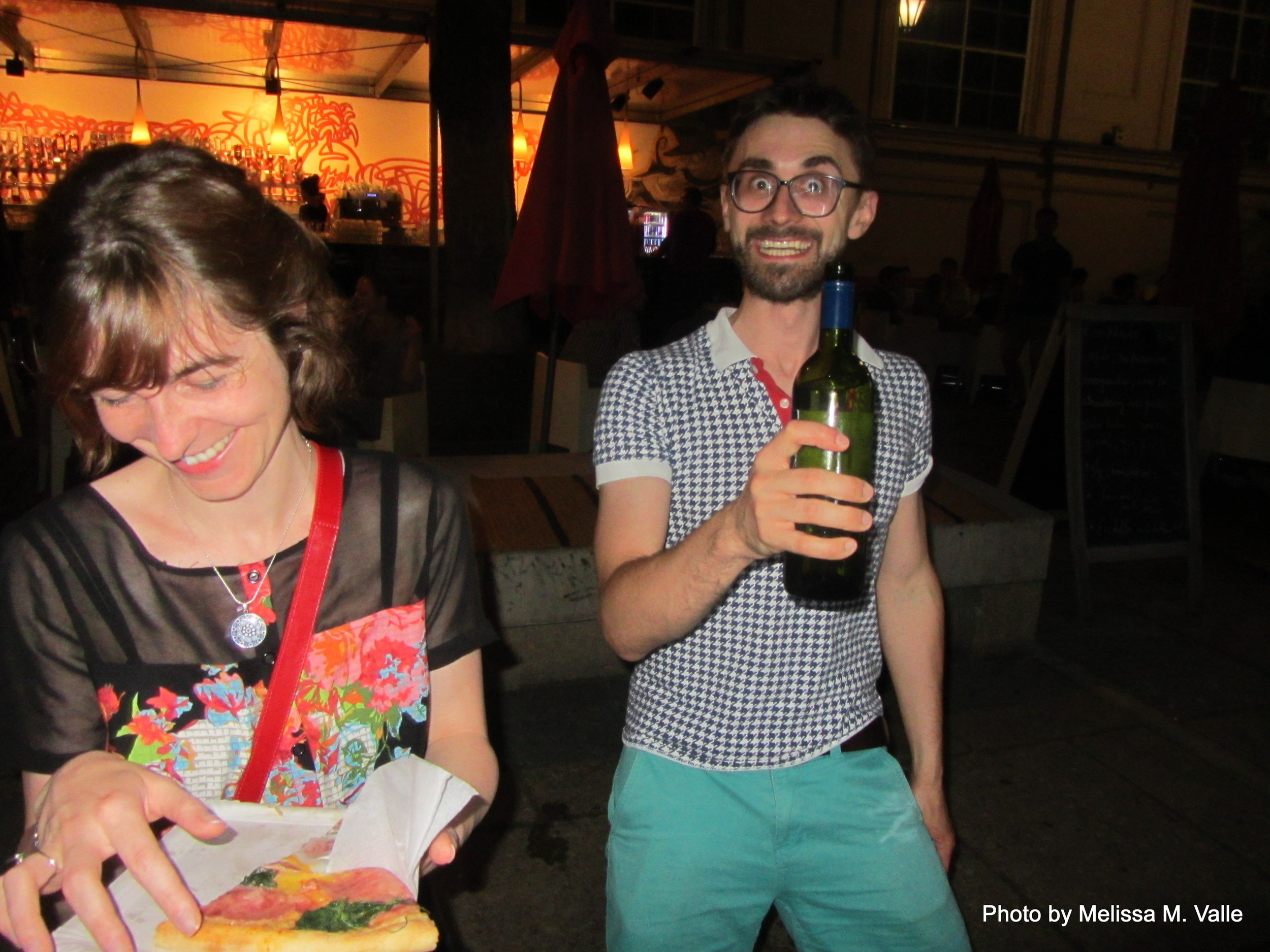 7.7.14 Vienna, Austria-wining it up in Museum Quartier after Amin lecture (12)- Andreas and Elisabeth.JPG