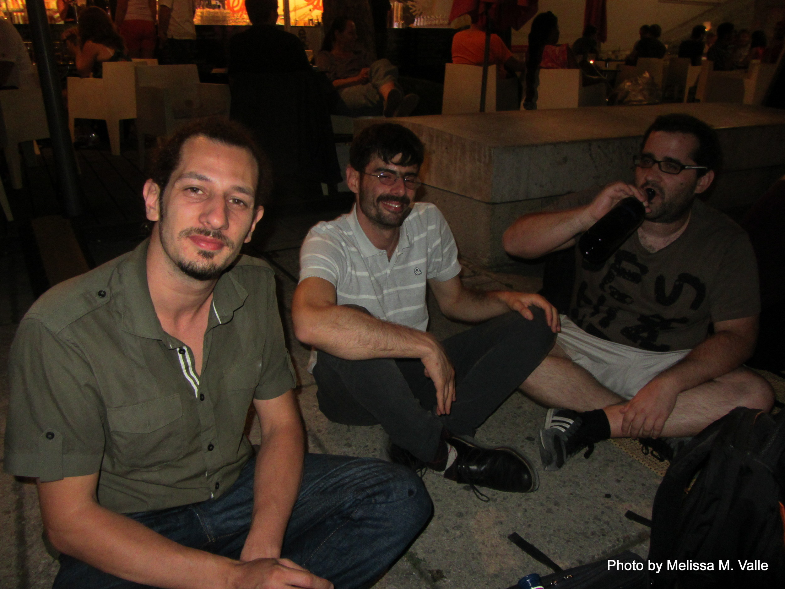 7.7.14 Vienna, Austria-wining it up in Museum Quartier after Amin lecture (18).JPG