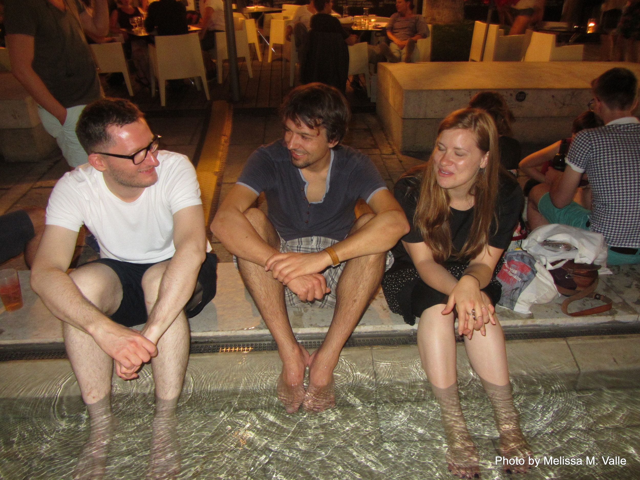 7.7.14 Vienna, Austria-wining it up in Museum Quartier after Amin lecture (16) Sebastian, Felix and Sam.JPG
