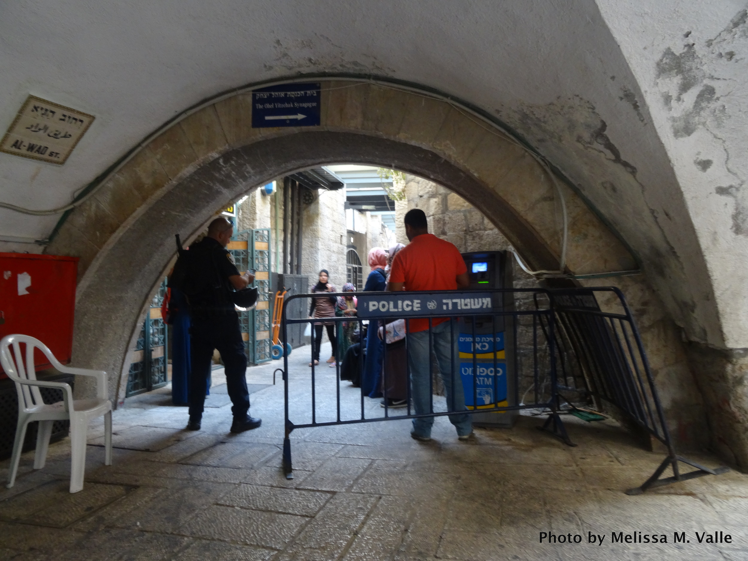 Muslim worshippers being barred from entering the gate necessary to reach Al-Aqsa Mosque on July 26, 2015