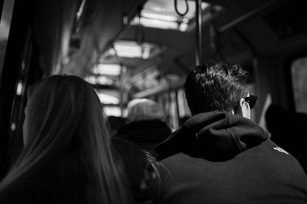 Engagement shoot, couple riding on Zion Shuttle Bus to Angel's Landing