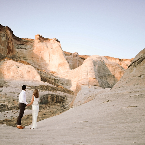 Couple stands at Amangiri resort