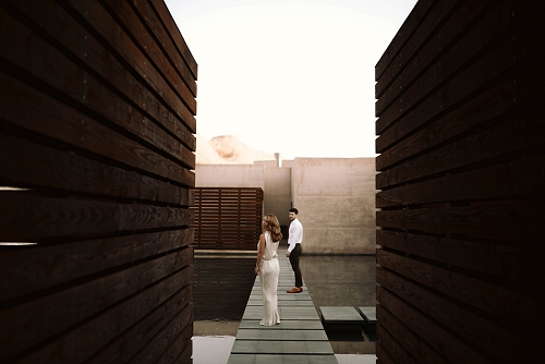 Couple stands at spa at Amangiri resort