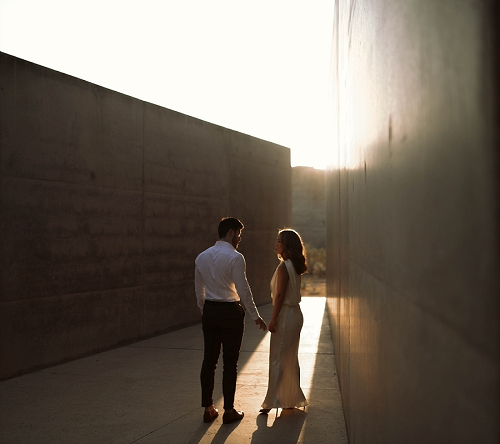 Couple enjoys sunrise at Amangiri resort