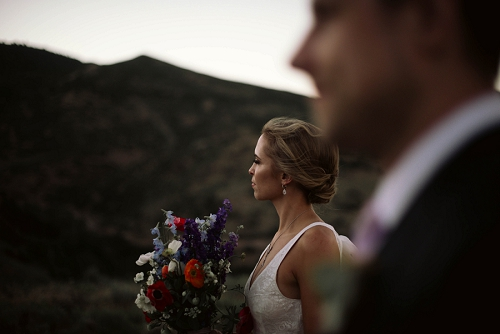 Bridal portrait at twilight in Park City