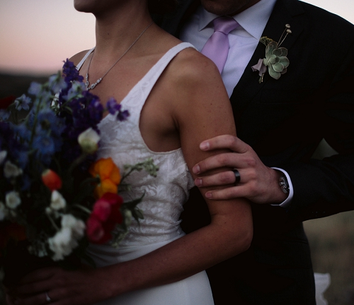 bride and groom at sunset in Park City Utah