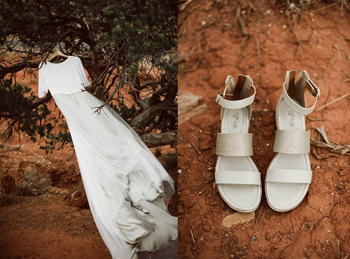 Wedding dress and shoes in the desert