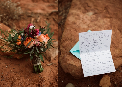 Wedding bouquet and vows at Capitol Reef elopement