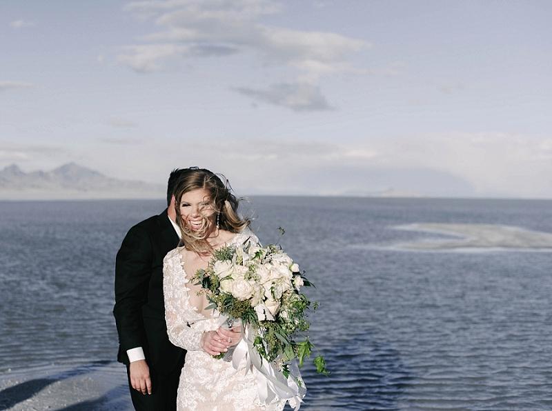 Couple after elopement ceremony at Utah Salt Flats