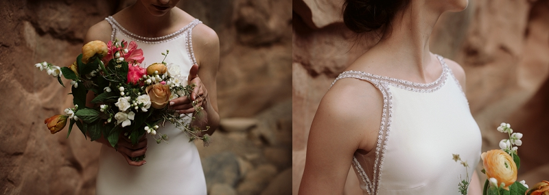 Bride wears minimal and sophisticated gown at her elopement