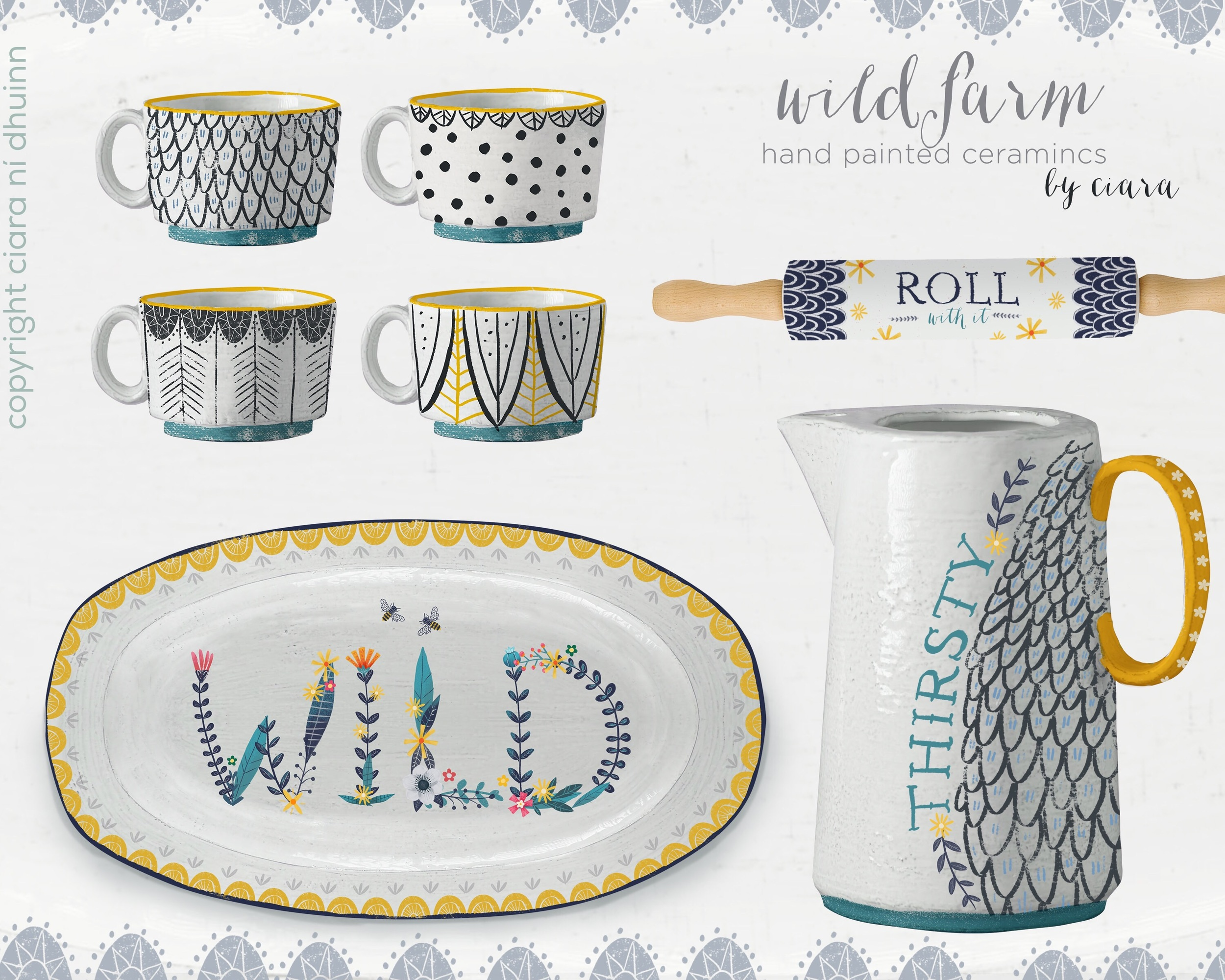 Wild Farm hand painted ceramic collection.