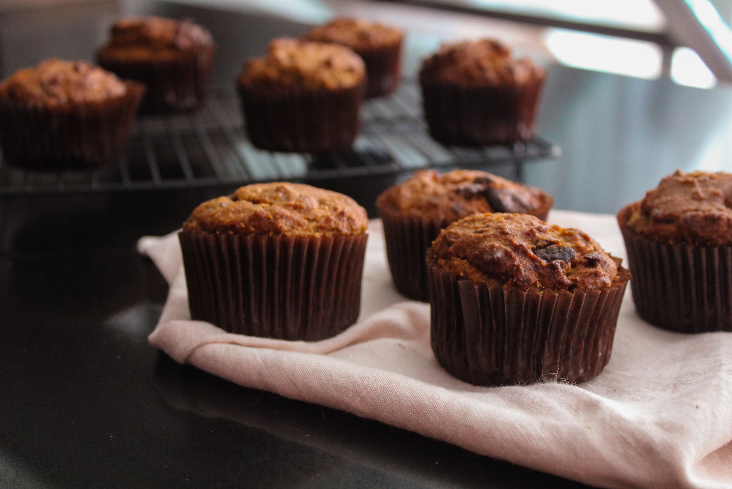 ALMOND BUTTER AND BANANA CHOC CHUNK MUFFINS |vegan, dairy free, gluten free, egg free, healthy  , easy, plant based  , refined sugar free, recoveringraw.com, recovering raw