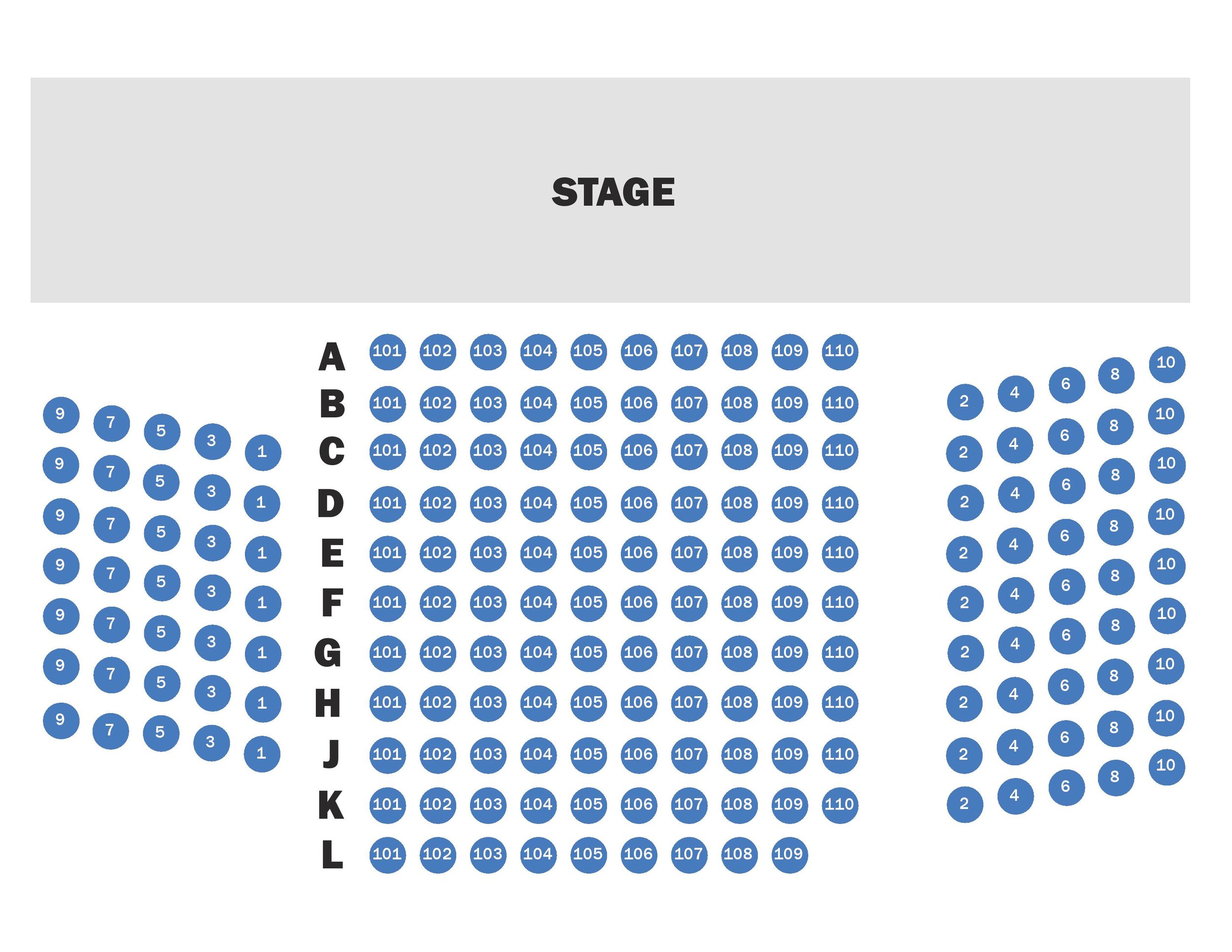 """A map of the house in the Hamilton Murray Theater. House right begins at row """"B""""."""