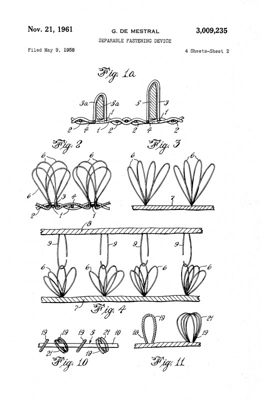 The US Patent for velcro and the stacking chair: where form follows function. No one can argue that the invention of velcro changed the way we design fasteners. Cheap to produce, simple to use, and easily accessible, velcro has made a lasting impact on everything from industrial design to military uniform outfitting.