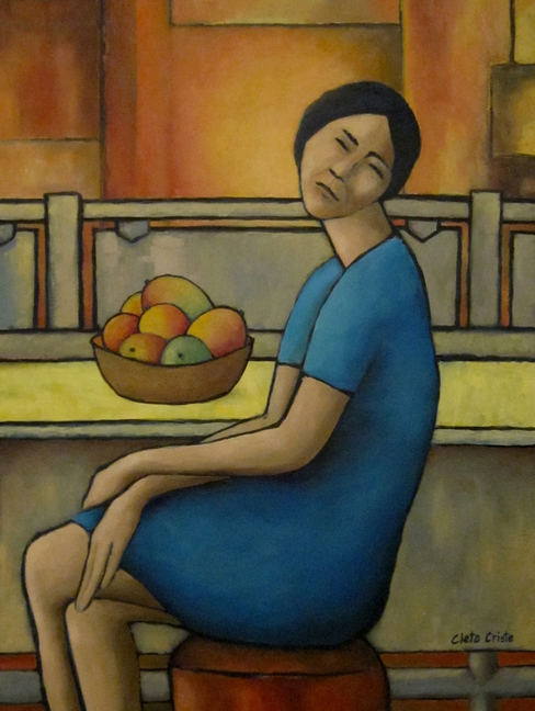 """This is the painting I submitted for the show. It's called  A Girl and Her Mangoes . It's 32""""w x 42""""h, oil on canvas."""