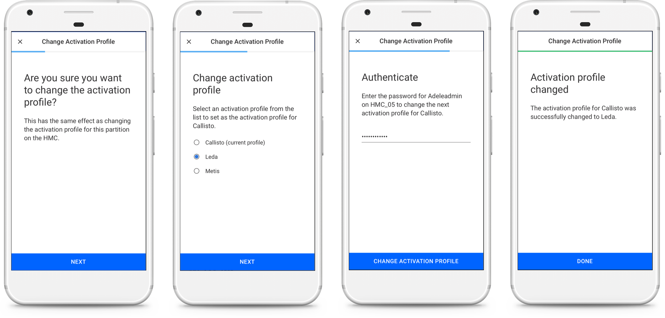 From left to right: confirmation, profile selection, authentication, and result screens.