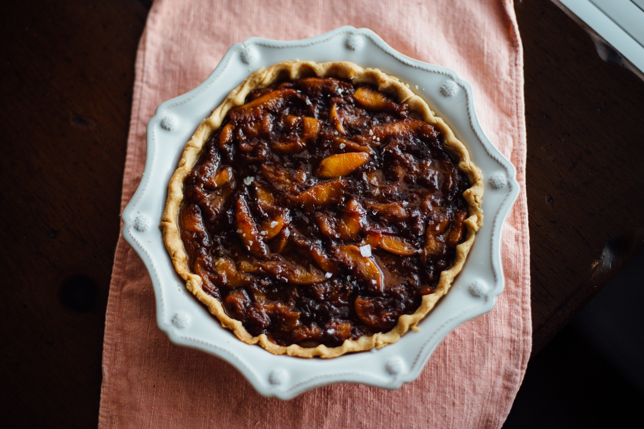 Lemon Ricotta Tart with Brown Butter Caramelized Peaches