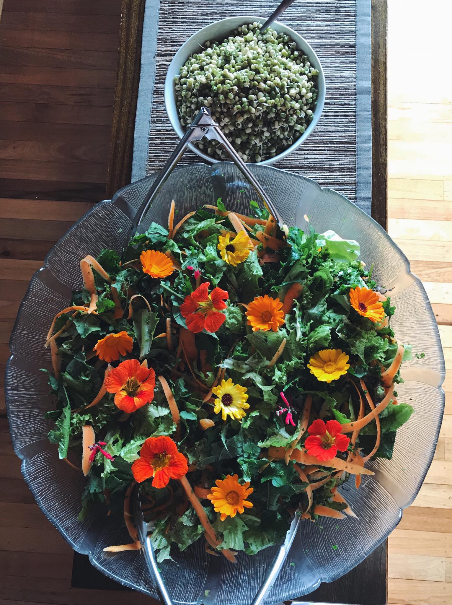 Freshly foraged garden salads - a typical addition at lunch and dinner