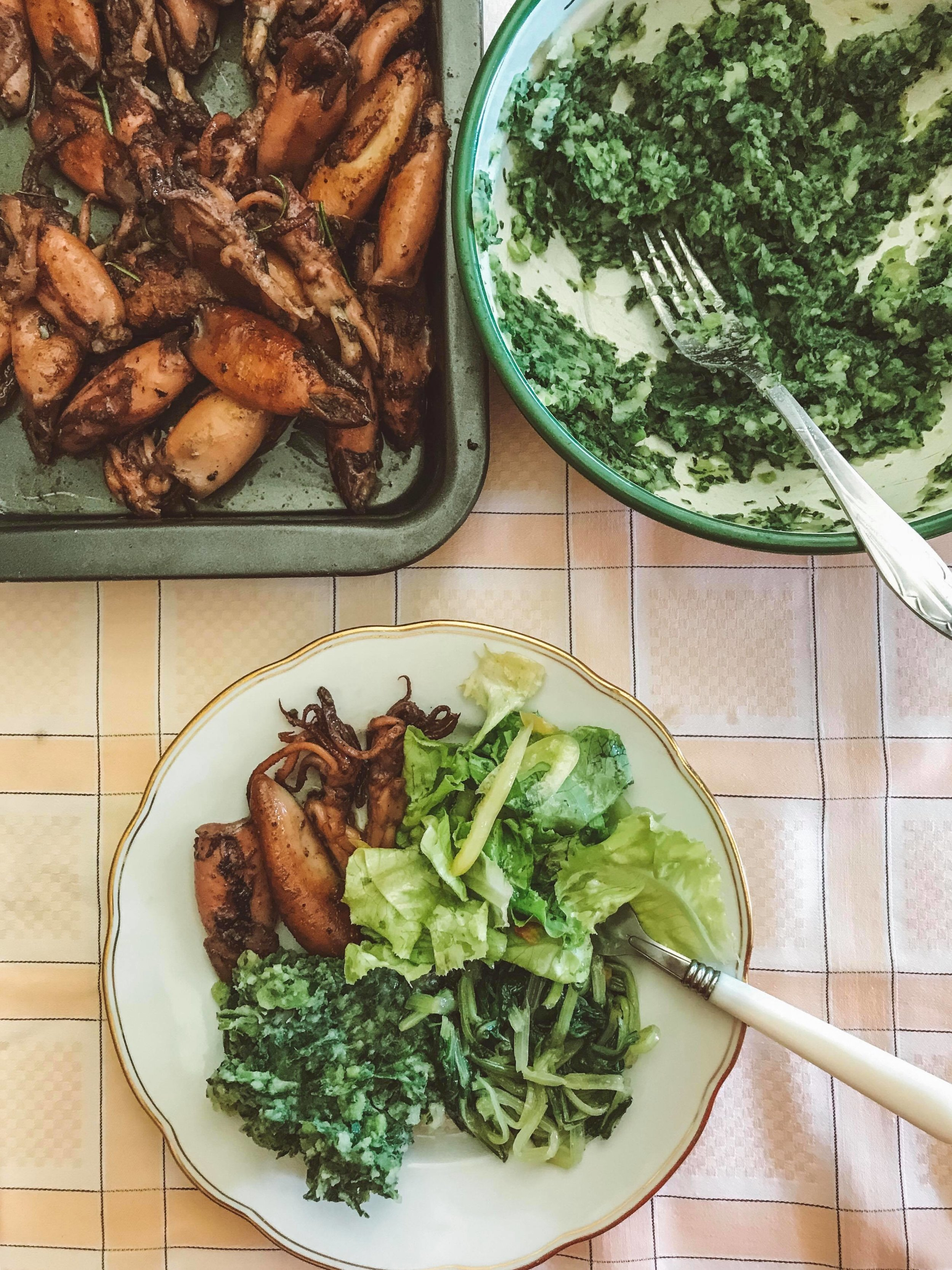 Homestyle feeds - BBQ squid, fresh salad, silverbeet and blitva (mashed potato and chard).