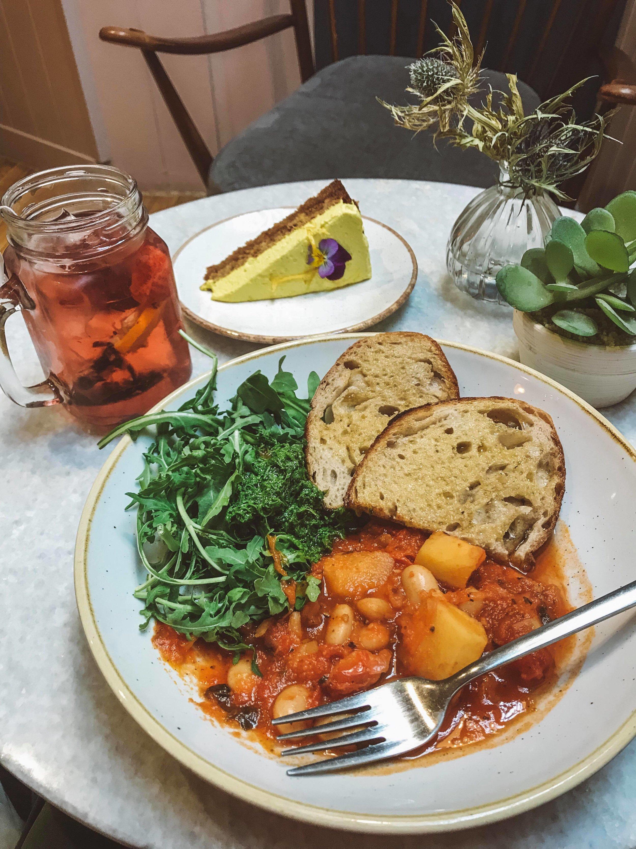 A glorious tuscan bean stew, lemon cake and iced tea.