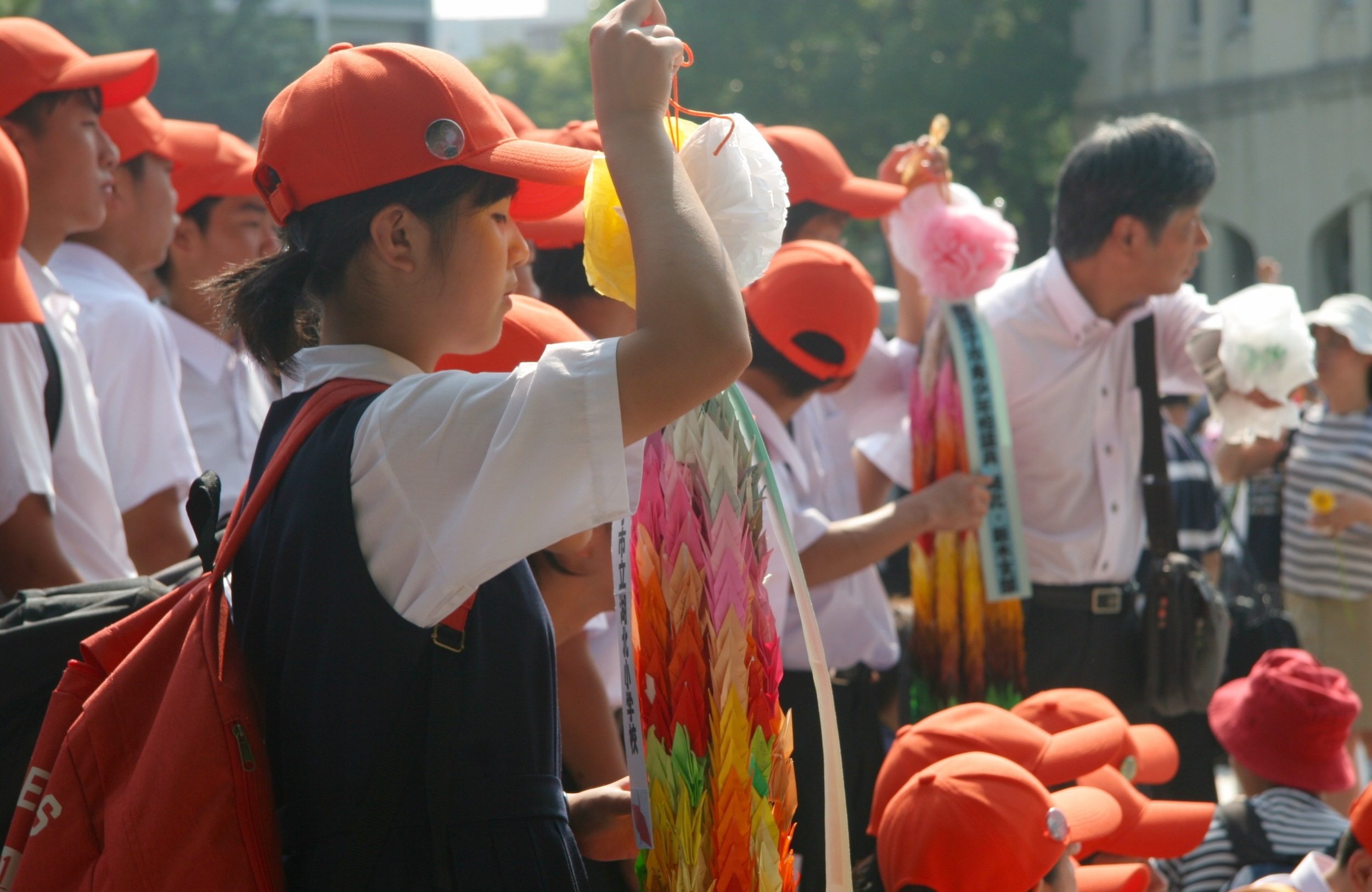 Classes of students brought cranes to honour the children who died as a result of the bombing
