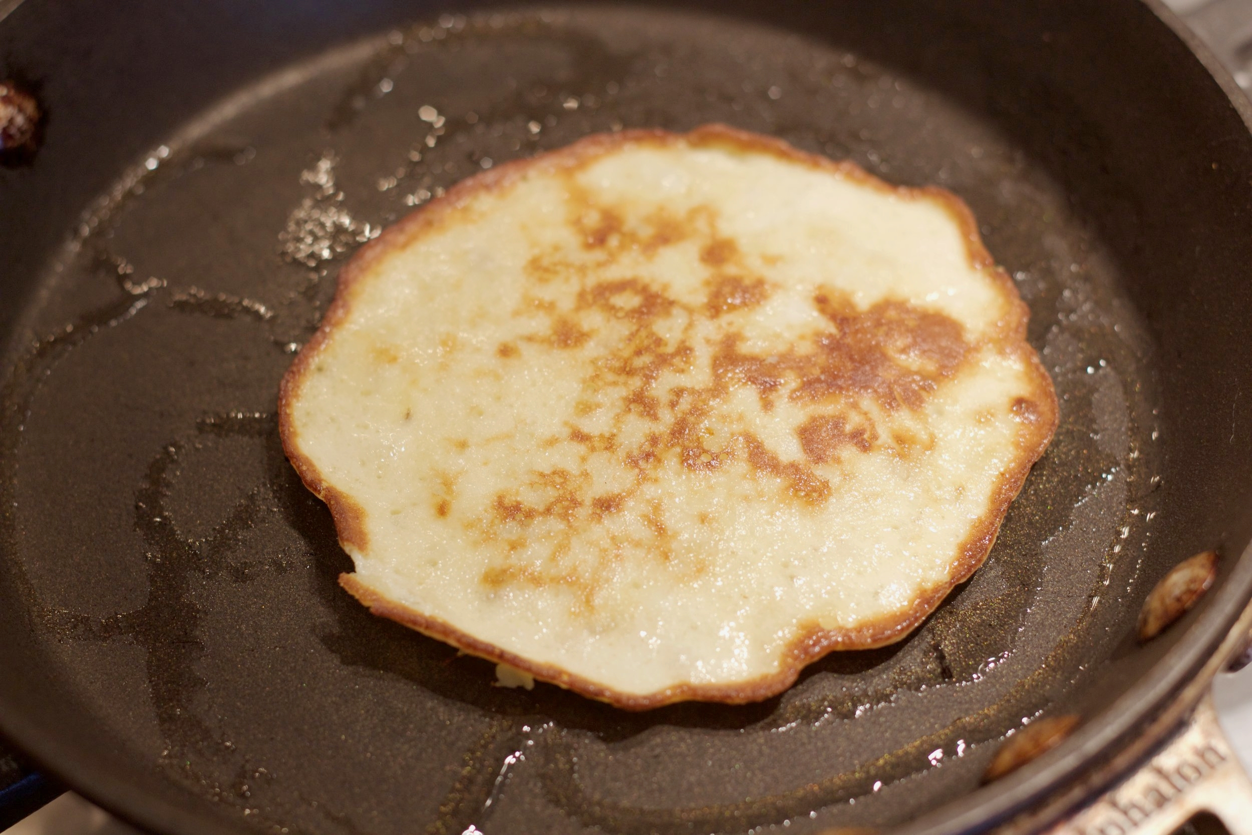 Cook for roughly 30 seconds on each side. The pancake should turn a golden brown color.