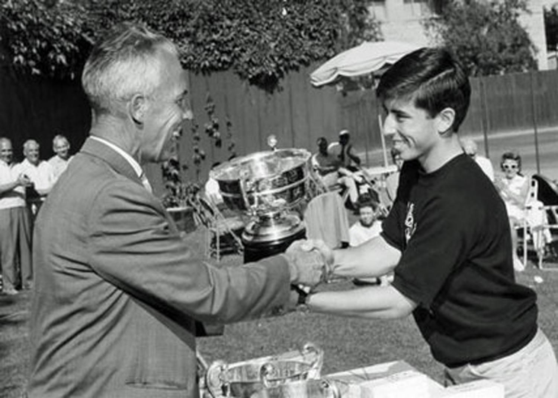 Lloyd (left) presenting to Geoff Dyer