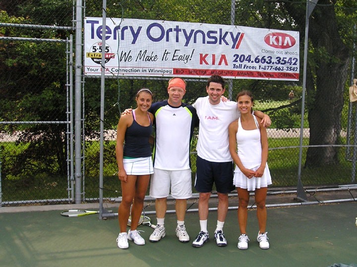 Finalists in the Mixed Doubles Open competition, left to right are Alexa Zayac, Geoff Kirbyson, Hart Pollock and Anita Paskvalin. Winners were Alexa and Geoff.JPG