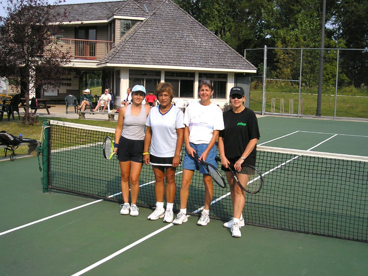 Left to right Amelia Manlig, Dina Culangan, Danielle Parent, Pat Chawla - finalists in the 45 Ladies Doubles. Winners were Danielle and Pat.JPG