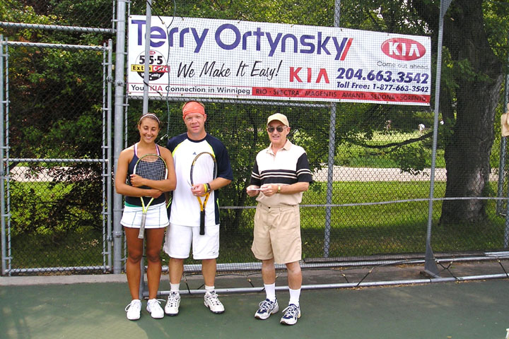 WLTC President Bill Rannard presenting prizes to the winners of the Mixed Doubles Open event (Alexa and Geoff).JPG