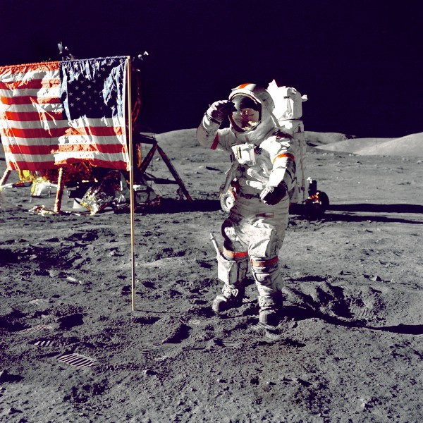 Eugene A. Cernan, Commander, Apollo 17 salutes the flag on the lunar surface during extravehicular activity (EVA) on NASA's final lunar landing mission. December 13, 1972