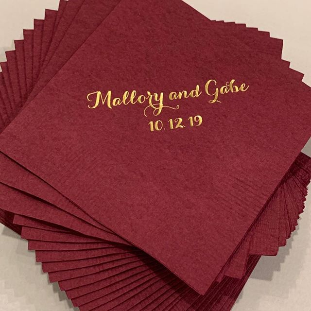Pretty burgundy cocktail napkins for a lovely fall wedding. What do you think of the font style? #youreinvitedbyjaninvitations #foilimprint #stayingneatatawedding #personalized #columbiamaryland #custominvitations #luxuryinvitations #guestaddressing #marylandbride #2020wedding #goldfoil #silverfoil #dmvwedding #customweddinginvitations