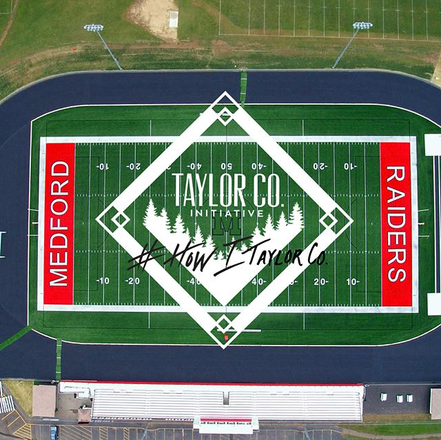 Since 1968, Medford has had a grass field but over the last few years,the Medford School District and All Sports Booster Club raised $1.2 million for the turf project which allows for both soccer and football to be played on brand new turf. The turf field is open for all sports when needed and community organizations too.  #footballfield #howitaylorco #community #spirit #soccerfield #turf #greatplacestolive #pride #raiderpride