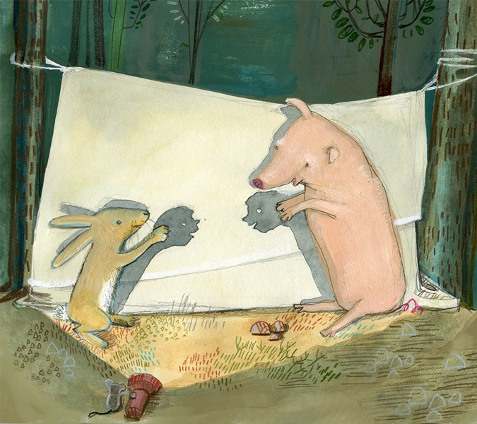 Pig and Rabbit make people puppets