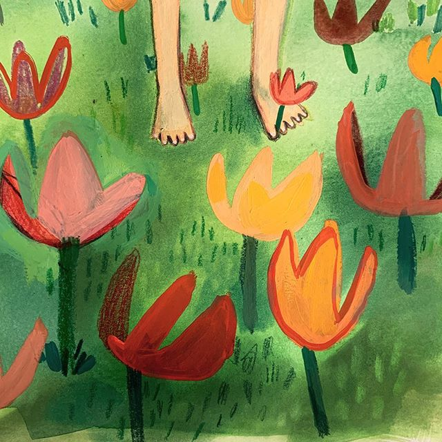 Tulips and toes 🌷 #doodleadayapril  #tulips #childrenswritersguild  #picturebookillustration  #kidlitart
