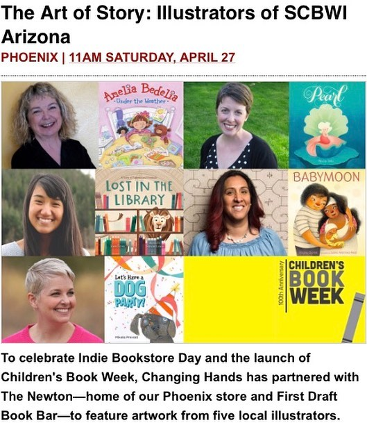 Looking for a fun place to take your kids?? Join us today to celebrate #indiebookstoreday and #childrensbookweek at @changinghands Phoenix. Event starts at 11am. There will be drawing demos, readings, crafts, framed prints to look at, and book signings. The most exciting part is @juanamartinezn will be reading her newest book BABYMOON! Come say hi!