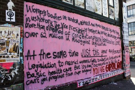 Women's Rights graffiti by Grrrl Army, Seattle 2012. Photo:Portland Street Art Alliance