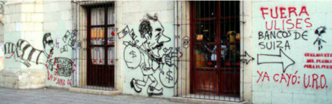 Anti-Ulises Ruiz Ortiz graffiti, Oaxaca 2006. Photo: Itandehui Franco Ortiz