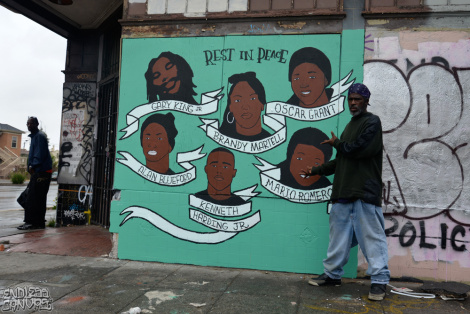 Memorial Mural for Victims of Police Brutality Oakland, 2013. Photo: Endless Canvas