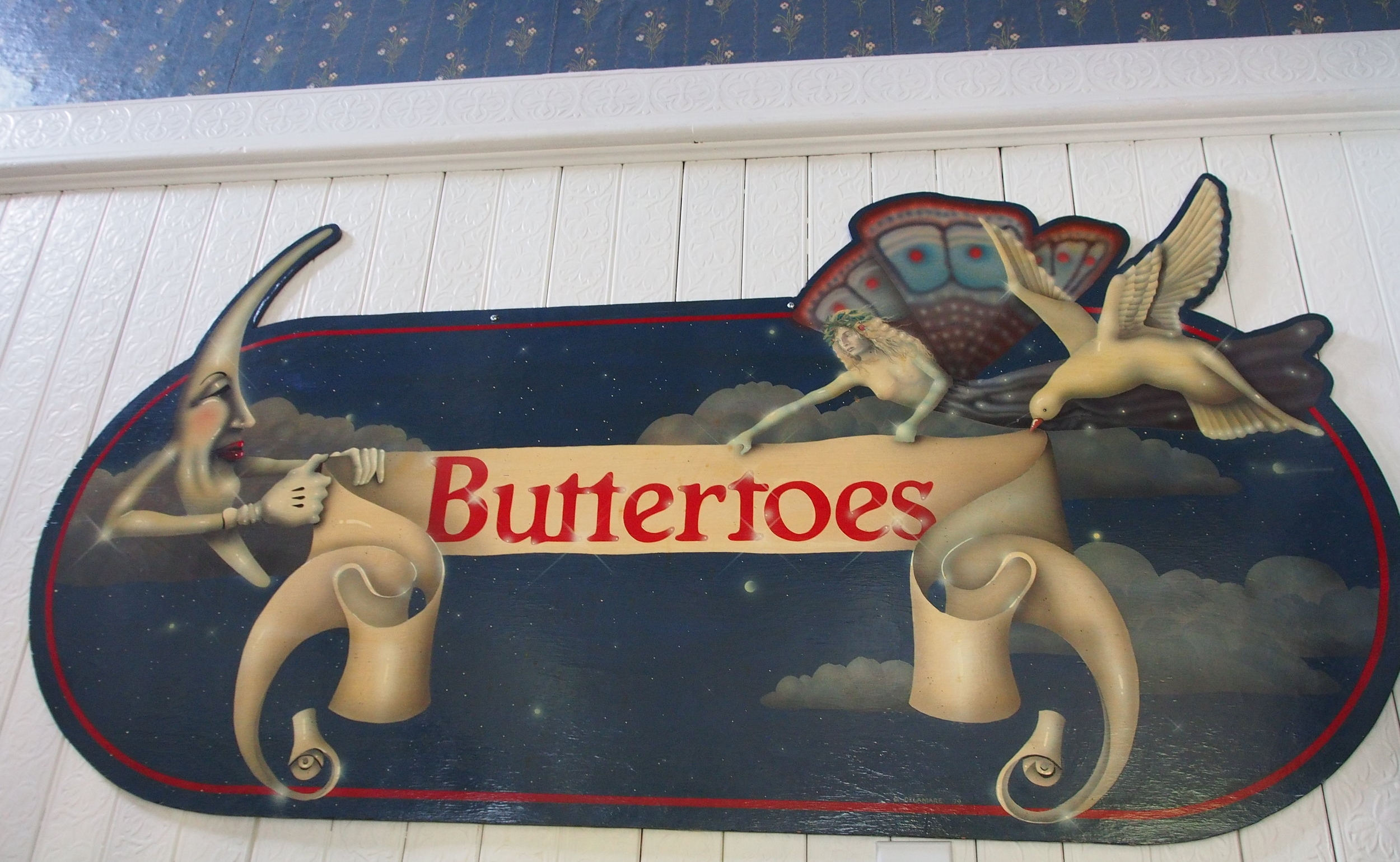 Buttertoes   Restaurant sign, painted by David Delamare