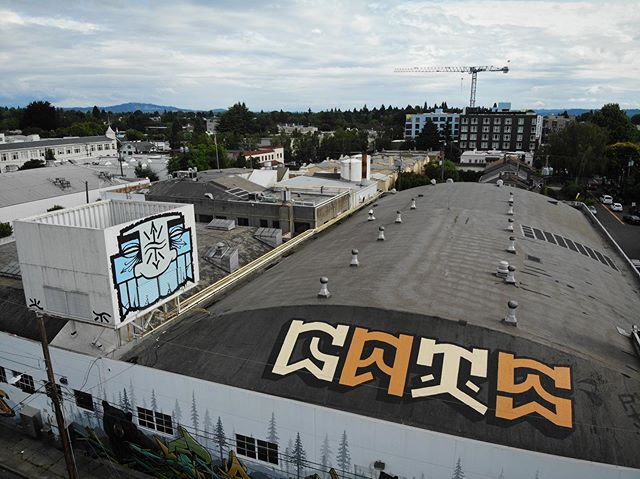 The finishing touches on the dairy are coming together spectacularly! Huge thanks to @gatsptv for completely knocking this super challenging spot outta the water. #GATS #SunshineDairy #pdxgraffiti #portlandgraffiti #pdxstreetart #portlandstreetart #pdxart #gatsptv #psaa #communityartproject #portlandstreetartalliance Photos 📸👏 @invoicepdx