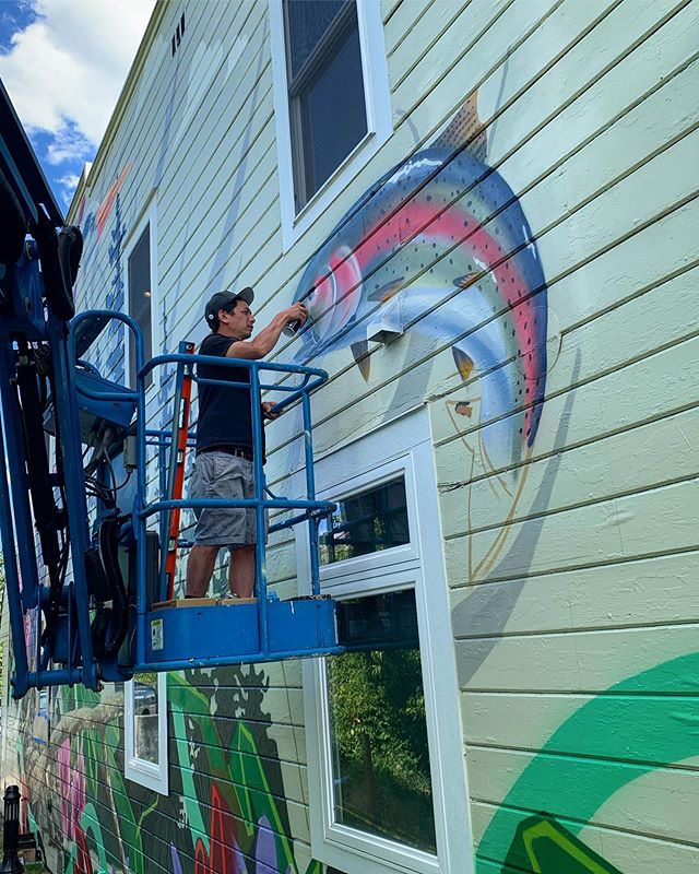 Process shots from the in-progress mural about #FannoCreek history by @plasticbirdie for the @cityoftigard #wipart #muralart #streetart #tigardoregon #cityoftigard #awalkthroughtimemural #oregonart #jeremynichols #psaa #portlandstreetartalliance