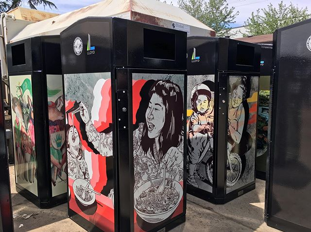 Rad to see an amazing line up of local artists @artbyalexchiu @maryannahoggatt @3rdversion on the new Lloyd District trash cans! Many thanks to @golloydpdx for hiring us for design work! Keep an eye on the streets for these rolling out soon! #lloyddistrict #portlandoregon #pdxart #cityofportland #portlandstreetart #pdxstreetart #trashcantakeover #trashcanart #psaa #portlandstreetartalliance