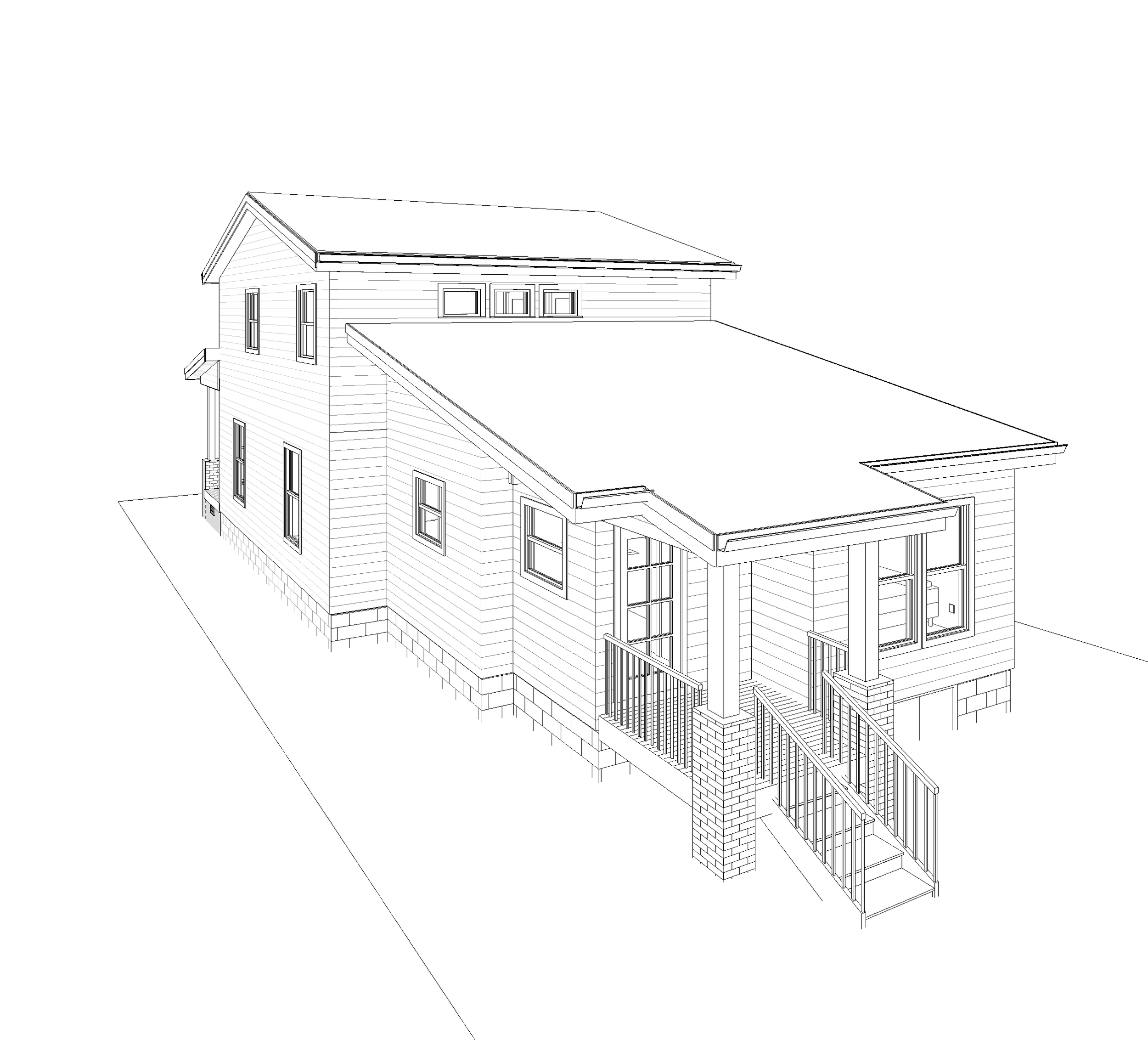 Perspective showing rear addition